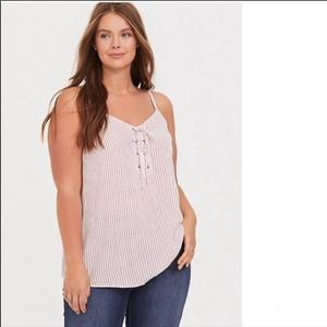 Torrid Sophie Red/White Striped Lace-Up Tank Top